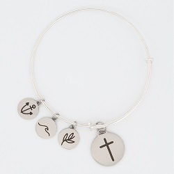 Cross Charm Bangle Bracelet cross charm bracelet, christian bracelet, jesus bracelet,