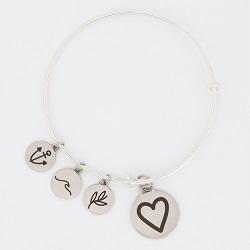Heart Charm Bangle Bracelet heart charm bracelet, christian bracelet, jesus bracelet,