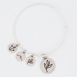 Olive Branch Charm Bangle Bracelet cross charm bracelet, christian bracelet, jesus bracelet,