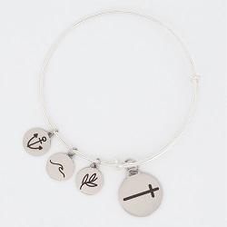 Sideways Cross Charm Bangle Bracelet cross charm bracelet, christian bracelet, jesus bracelet,