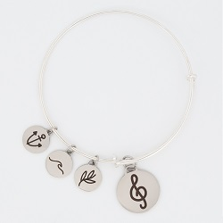 Treble Clef Charm Bangle Bracelet music note charm bracelet, christian bracelet, jesus bracelet,