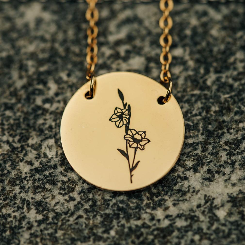 December Birth Flower Disc Necklace - Narcissus - LDP-DSN-BIRTH-DEC