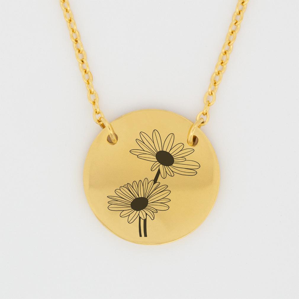 April Birth Flower Disc Necklace - Daisy - LDP-DSN-BIRTH-APR