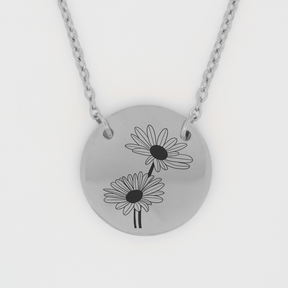 April Birth Flower Disc Necklace - Daisy birth flower necklace, april birth necklace, christian birth necklace, christian necklace for women, christian necklace for girls,