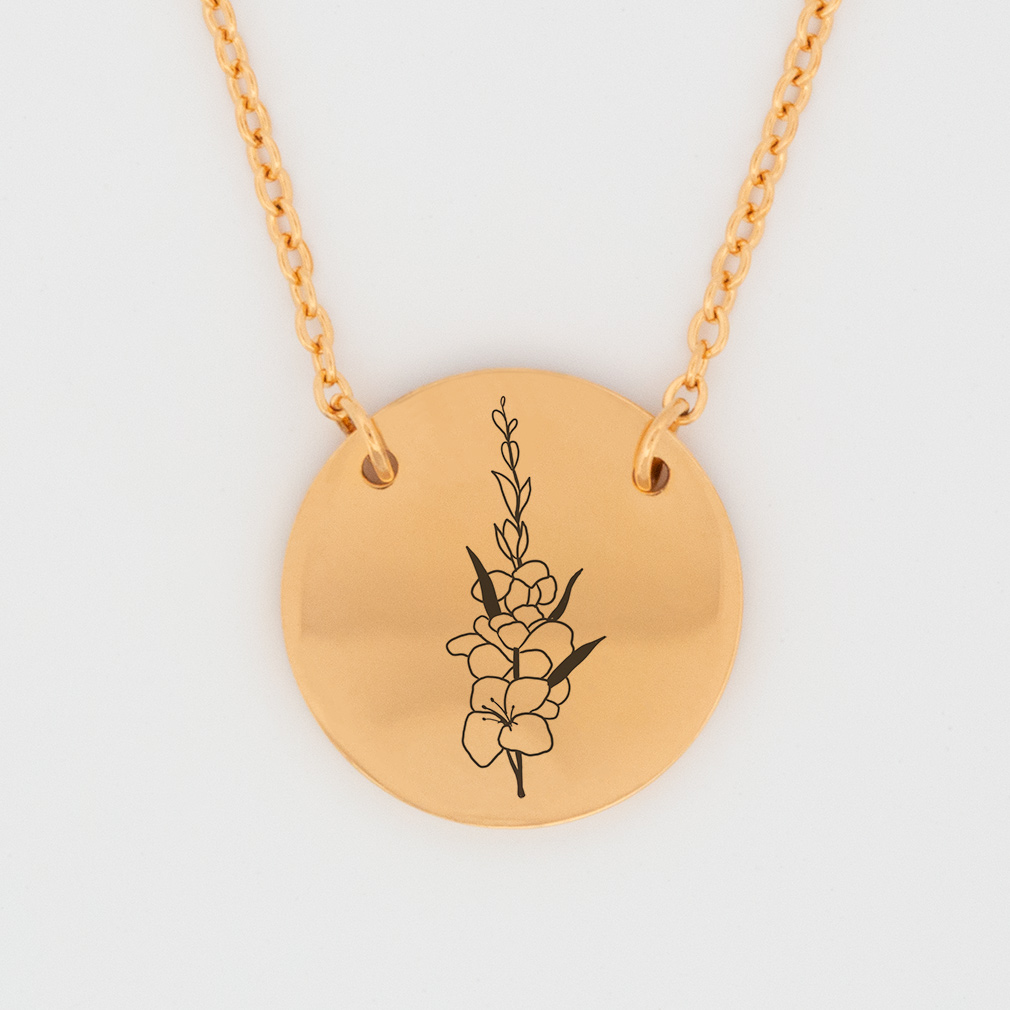 August Birth Flower Disc Necklace - Gladiolus - LDP-DSN-BIRTH-AUG