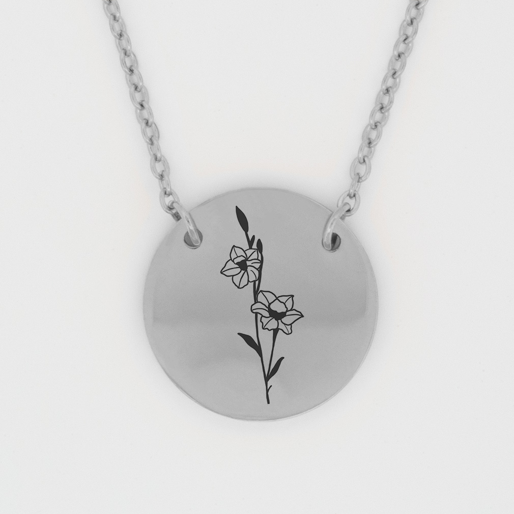 December Birth Flower Disc Necklace - Narcissus birth flower necklace, december birth necklace, christian birth necklace, christian necklace for women, christian necklace for girls,