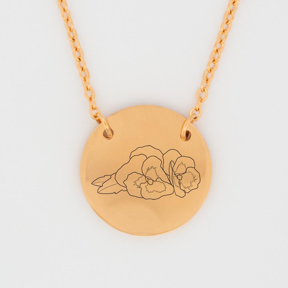 February Birth Flower Disc Necklace - Violet - LDP-DSN-BIRTH-FEB