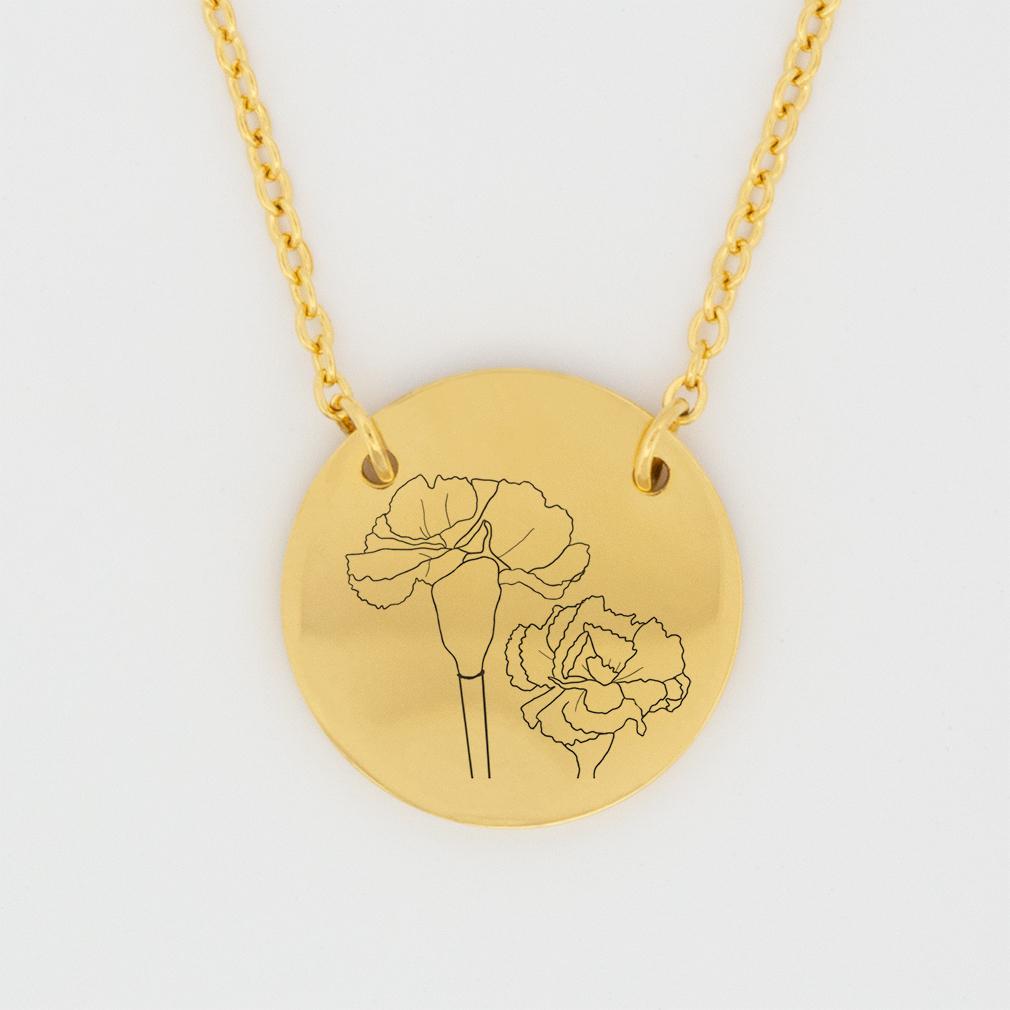 January Birth Flower Disc Necklace - Carnation - LDP-DSN-BIRTH-JAN
