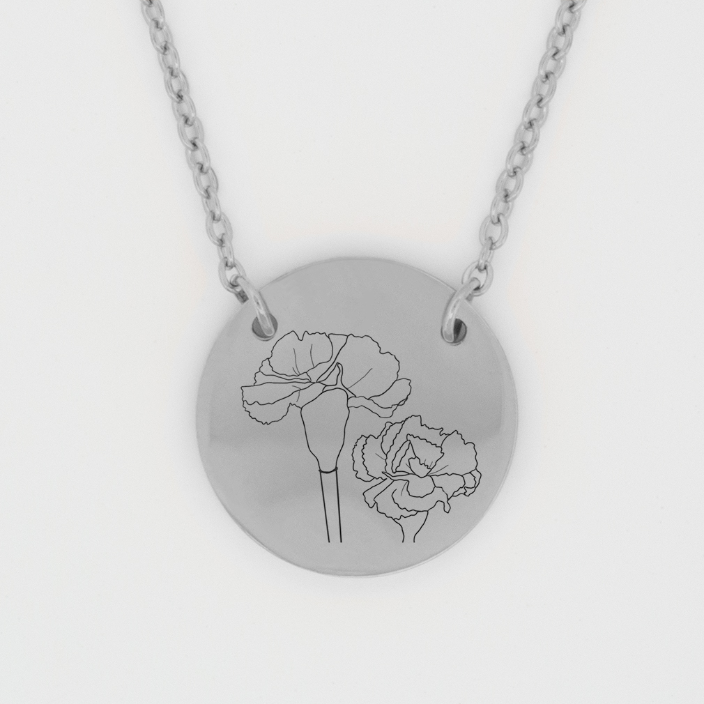 January Birth Flower Disc Necklace - Carnation birth flower necklace, january birth necklace, christian birth necklace, christian necklace for women, christian necklace for girls,