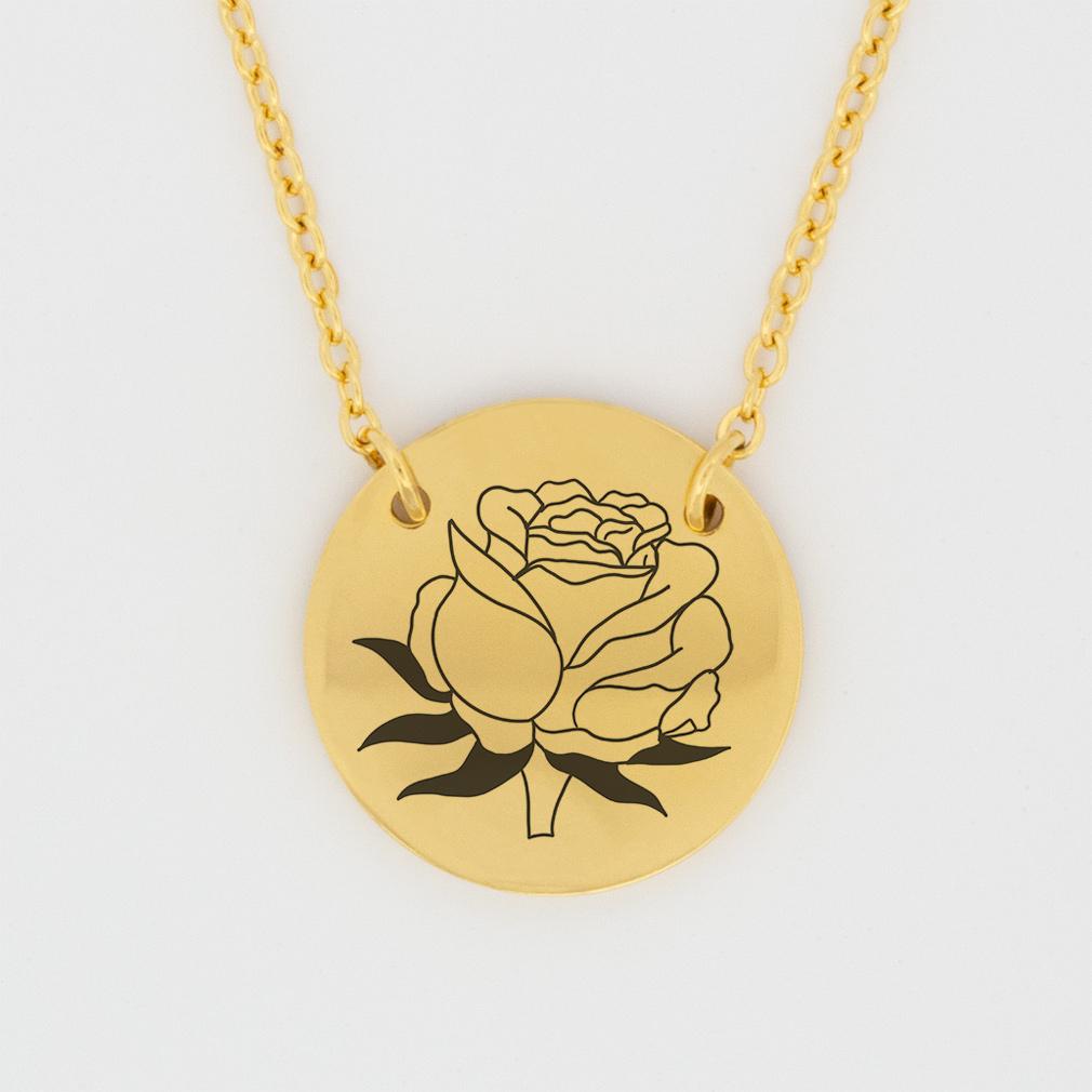 June Birth Flower Disc Necklace - Rose - LDP-DSN-BIRTH-JUNE
