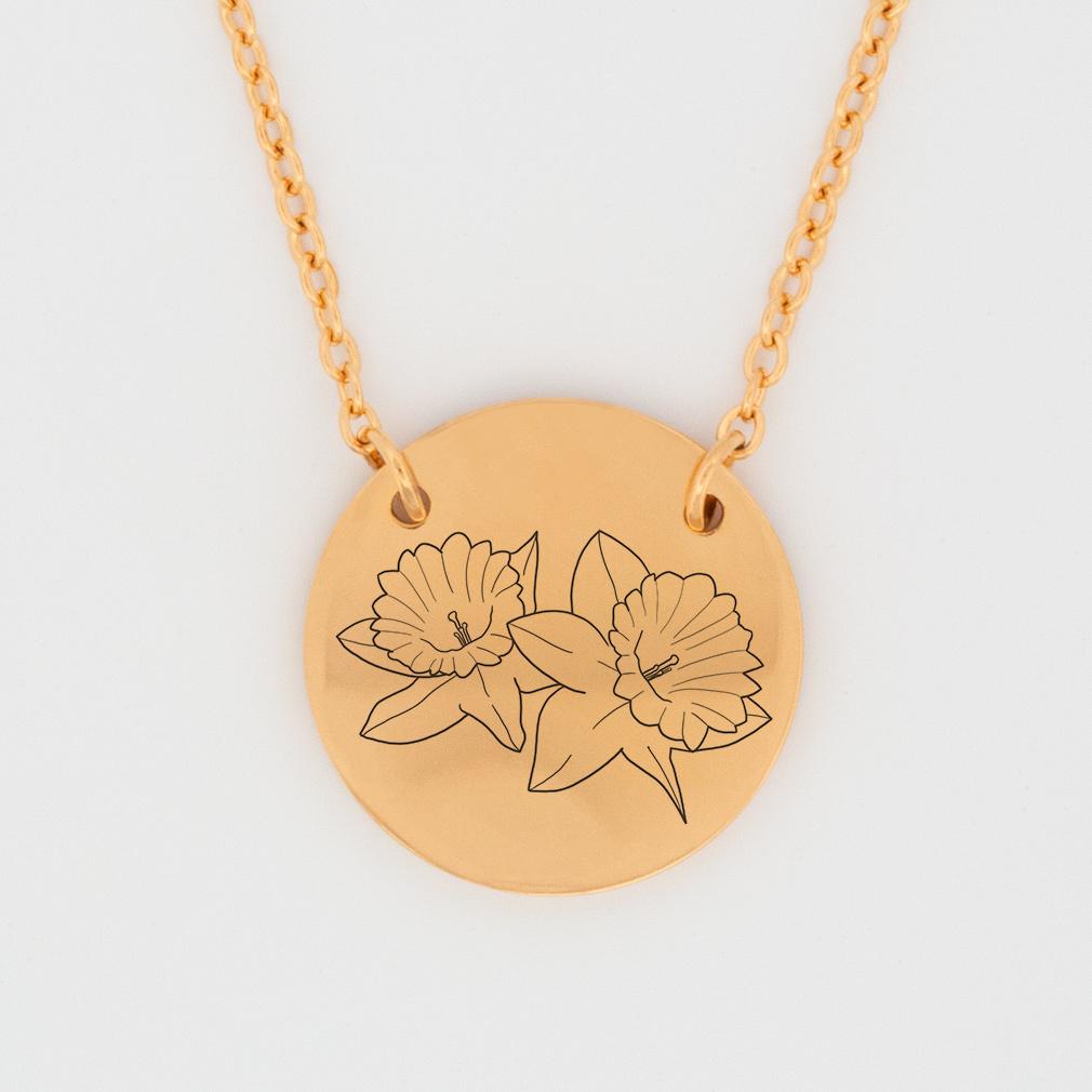 March Birth Flower Disc Necklace - Daffodils - LDP-DSN-BIRTH-MAR