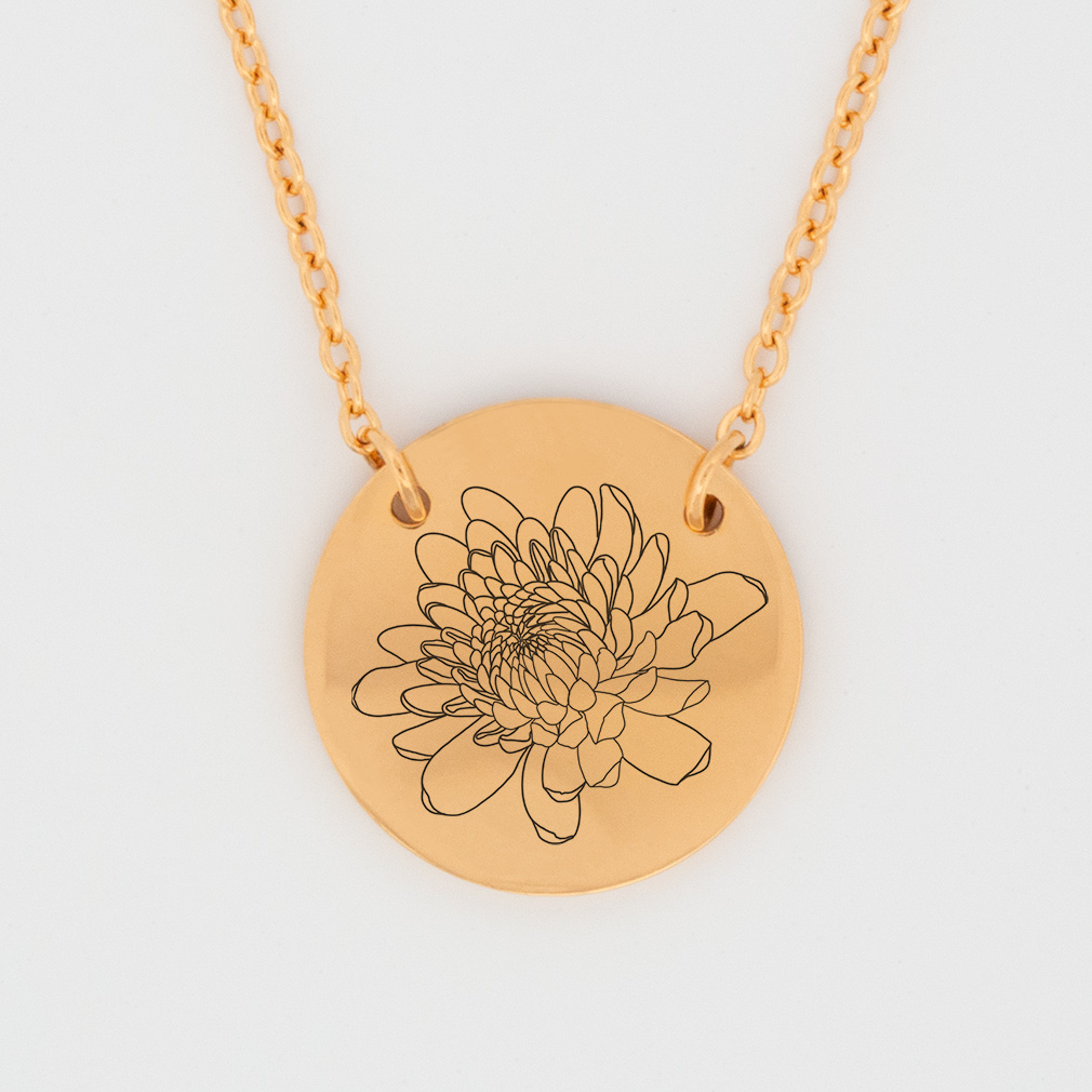 November Birth Flower Disc Necklace - Chrysanthemums - LDP-DSN-BIRTH-NOV