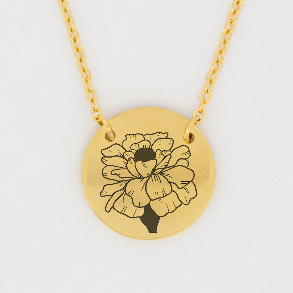 October Birth Flower Disc Necklace - Marigold - LDP-DSN-BIRTH-OCT
