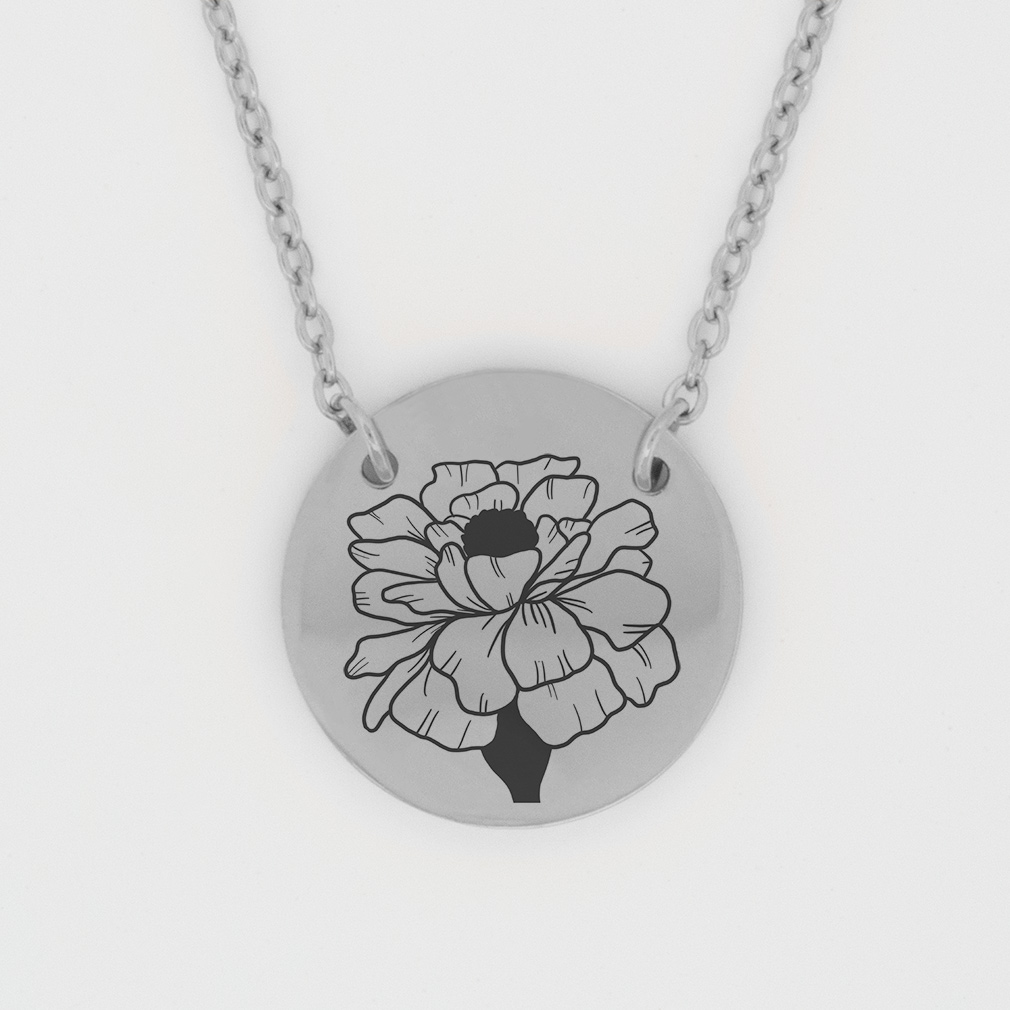 October Birth Flower Disc Necklace - Marigold birth flower necklace, october birth necklace, christian birth necklace, christian necklace for women, christian necklace for girls,