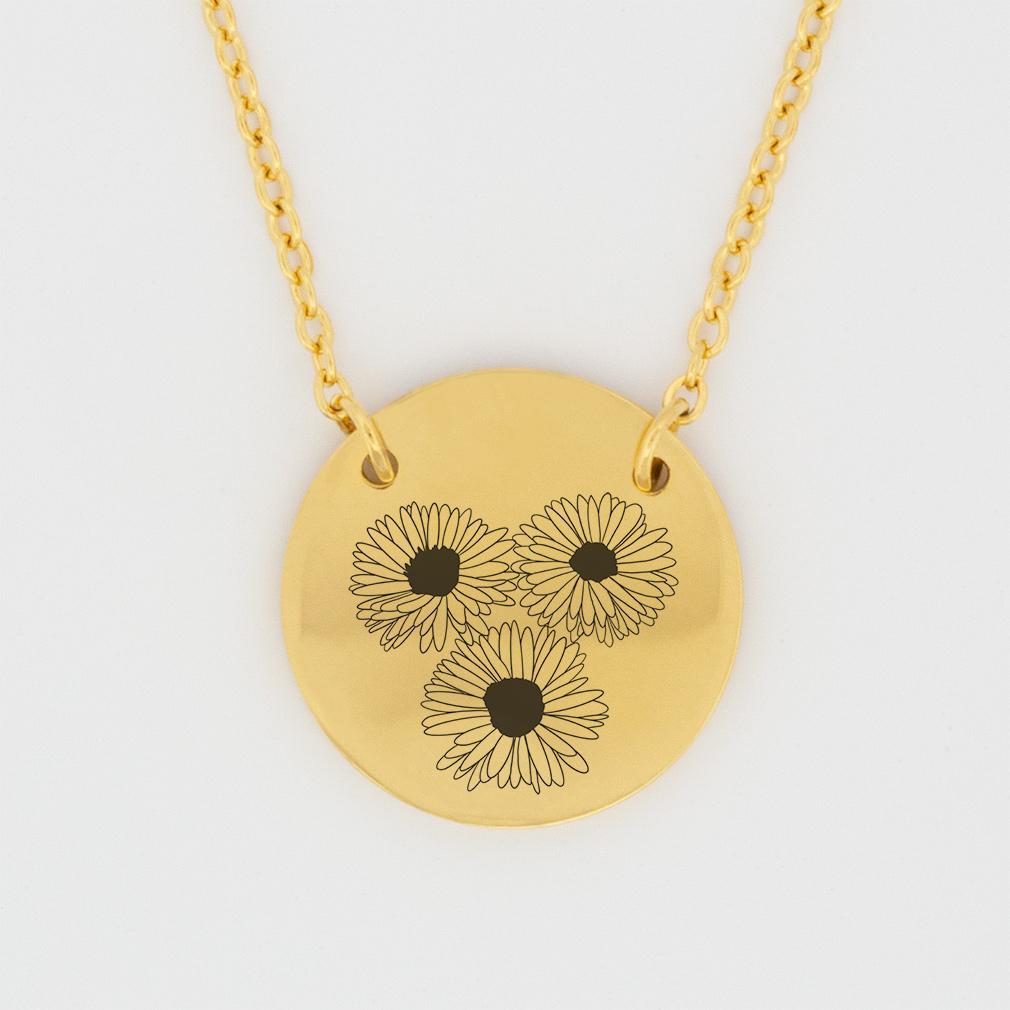 September Birth Flower Disc Necklace - Aster - LDP-DSN-BIRTH-SEPT