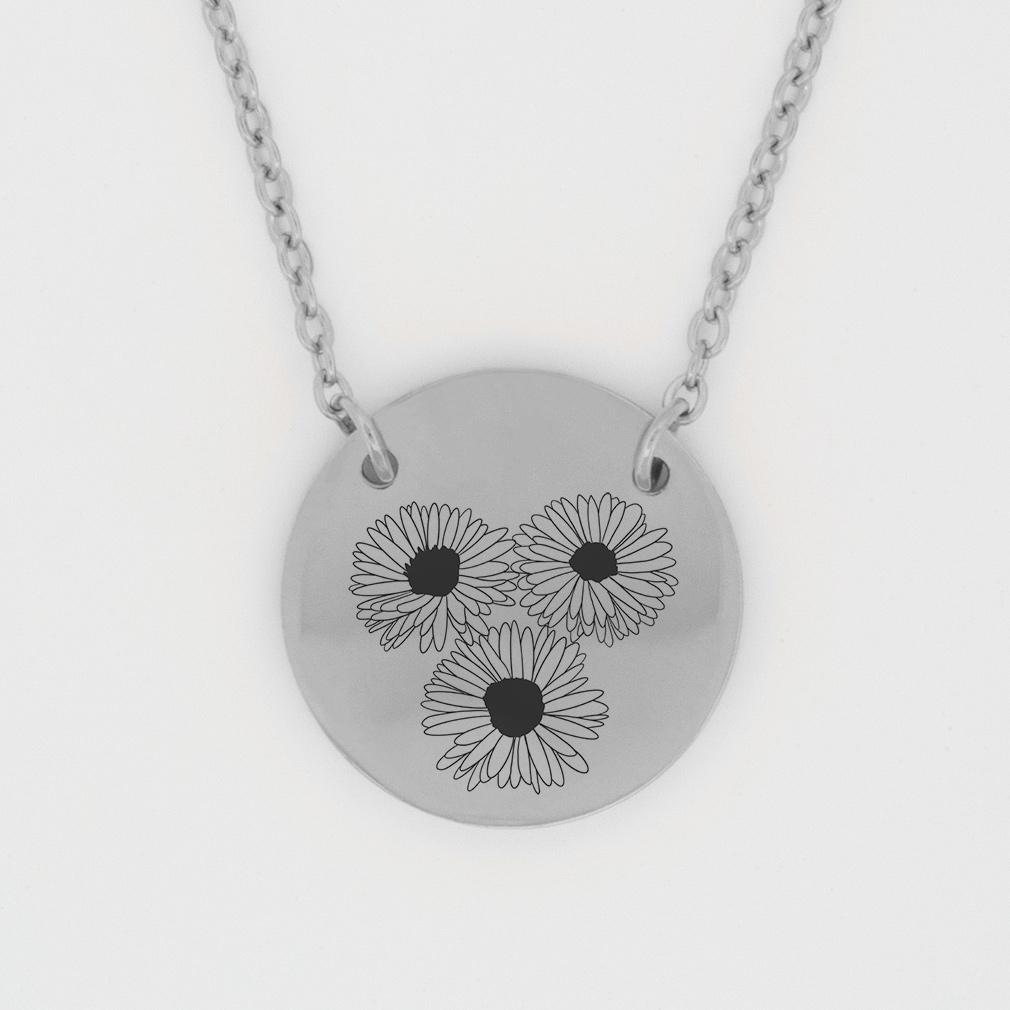 September Birth Flower Disc Necklace - Aster birth flower necklace, september birth necklace, christian birth necklace, christian necklace for women, christian necklace for girls,