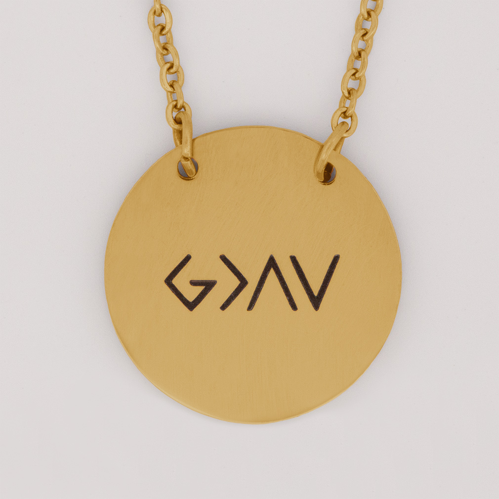 God is Greater Than the Highs and Lows Disc Necklace - FP-DSN101