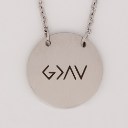 God is Greater Than the Highs and Lows Disc Necklace antique-looking necklace, bar necklace, text circle necklace, gold bar necklace, personalizable necklace