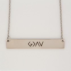 God is Greater Than the Highs and Lows Horizontal Bar Necklace god is greater necklace, horizontal bar necklace, antique-looking necklace, bar necklace, text bar necklace, gold bar necklace, personalizable bar necklace