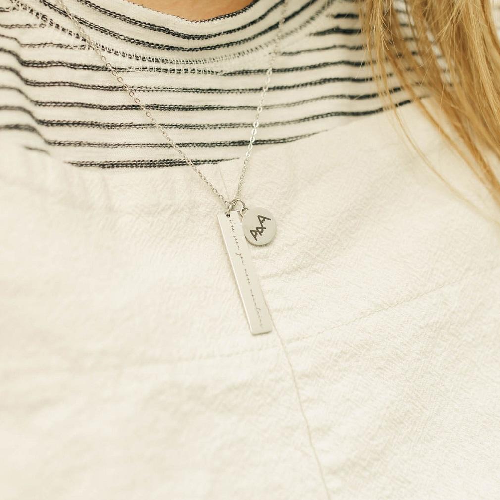 Do it Again Vertical Bar Charm Necklace - LDP-VBN-CHN-DIA