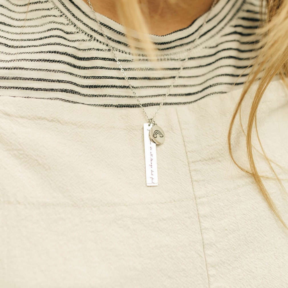 Never Lost Vertical Bar Charm Necklace - LDP-VBN-CHN-NL