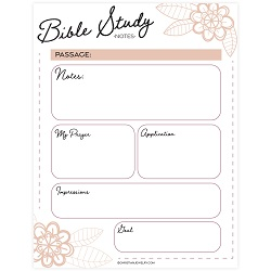 Flowers Bible Study Page - Printable bible study page, free bible study page, free bible study notes, free christian printables, christian coloring pages,