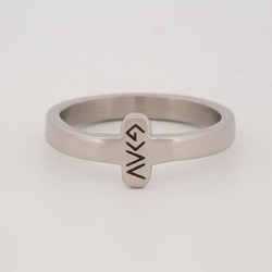 God is Greater Than the Highs and Lows Sideways Cross Ring god is greater ring, engraved ring, personalized ring, customized ring, stainless steel ring
